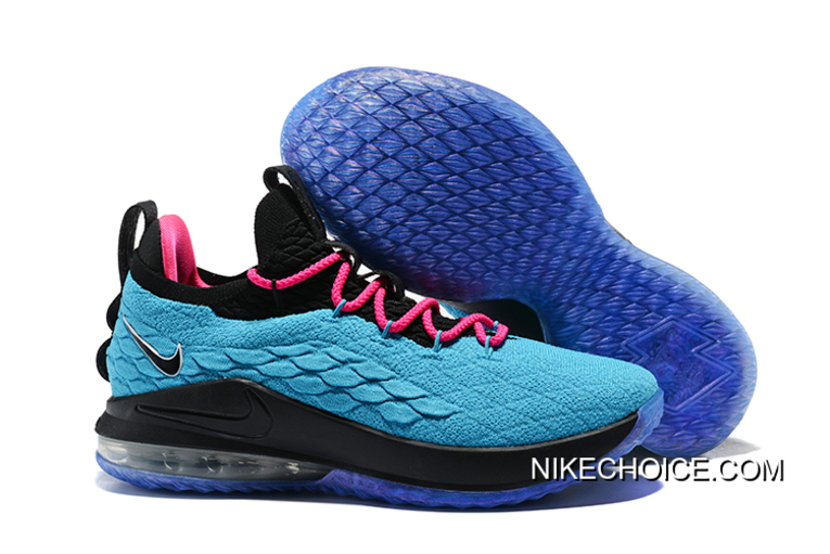 "1f66e91766a7 Nike LeBron 15 Low ""South Beach"" Teal Pink-Black Men s Basketball Shoes"
