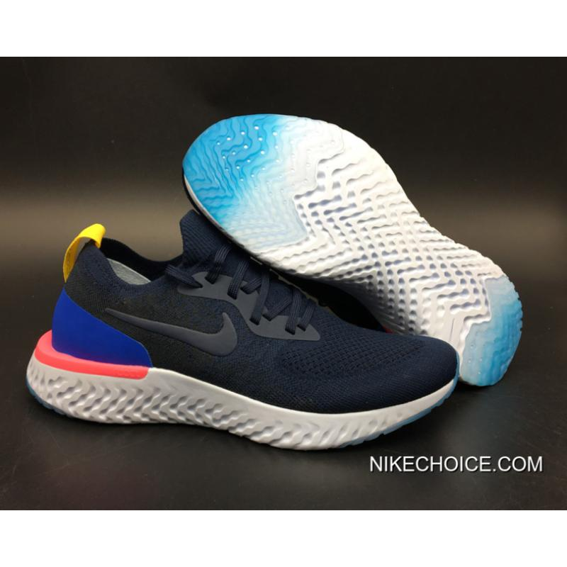 153efdaf15b6 Women Men Nike Epic React Flyknit Running Shoes College Navy Racer Blue-Pink  ...