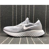 Women/Men Nike Epic React Flyknit Wolf Grey/White-Cool Grey Best