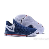 Nike KD 10 Navy Blue/White-Red Super Deals